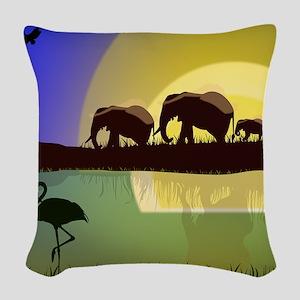 Animals African Landscape Woven Throw Pillow
