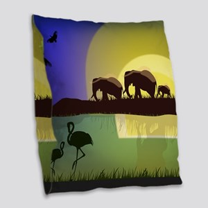 Animals African Landscape Burlap Throw Pillow