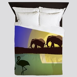 Animals African Landscape Queen Duvet