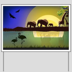 Animals African Landscape Yard Sign