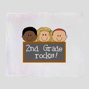 SECOND GRADE ROCKS Throw Blanket