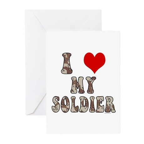 I Love (heart) My Soldier Greeting Cards (Pk of 10