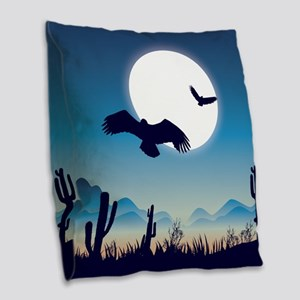 Night In the Desert Prairie with Cactuses Burlap T