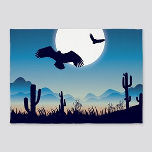 Night In the Desert Prairie with Cactuses 5'x7'Are