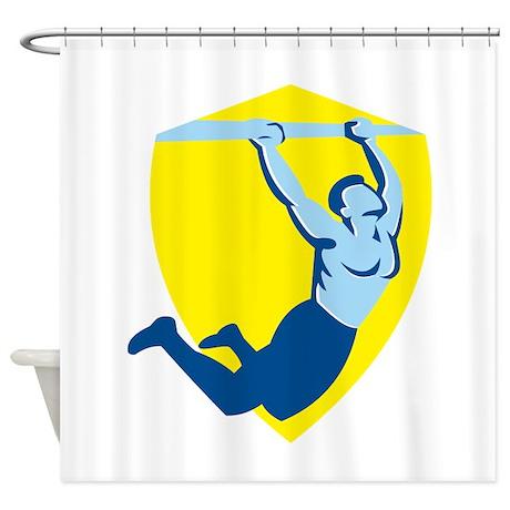 Crossfit Pull Up Bar Shield Retro Shower Curtain by RetroArtz