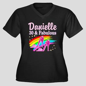 30 AND FABUL Women's Plus Size V-Neck Dark T-Shirt