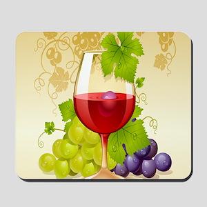 Wine Glass and Grape Vines Mousepad