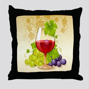 Wine Glass and Grape Vines Throw Pillow