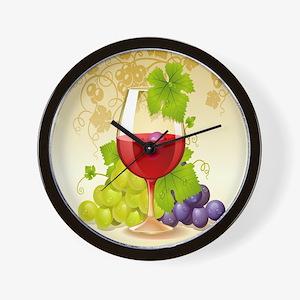 Wine Glass and Grape Vines Wall Clock