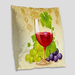Wine Glass and Grape Vines Burlap Throw Pillow