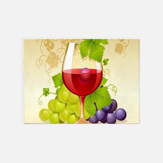 Wine Glass and Grape Vines 5'x7'Area Rug