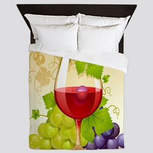 Wine Glass and Grape Vines Queen Duvet
