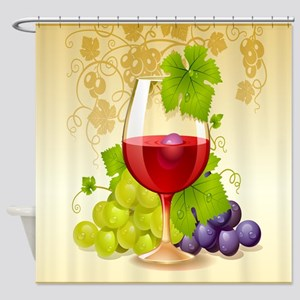 Wine Glass and Grape Vines Shower Curtain