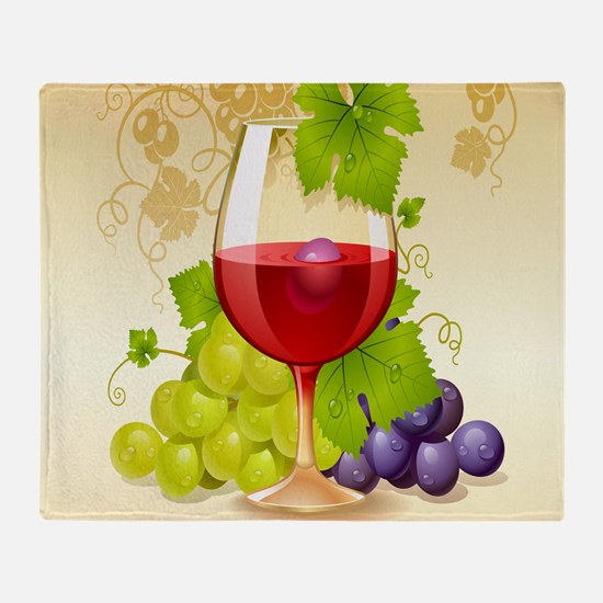 Wine Glass and Grape Vines Throw Blanket