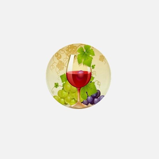 Wine Glass and Grape Vines Mini Button