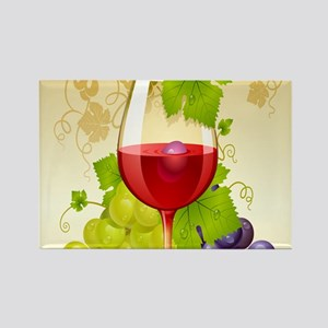Wine Glass and Grape Vines Magnets