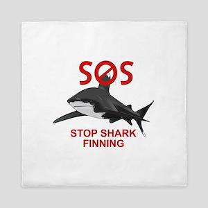 SOS STOP SHARK FINNING Queen Duvet
