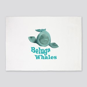 BELUGA WHALES 5'x7'Area Rug