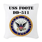 USS FOOTE Woven Throw Pillow