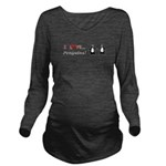 I Love Penguins Long Sleeve Maternity T-Shirt