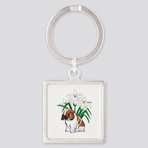 HOLLAND LOP AND LILIES Keychains