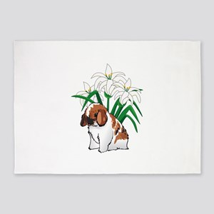 HOLLAND LOP AND LILIES 5'x7'Area Rug
