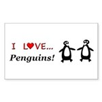 I Love Penguins Sticker (Rectangle 10 pk)