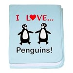 I Love Penguins baby blanket