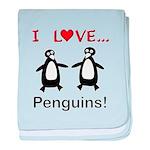 I Love Penguins baby blanket