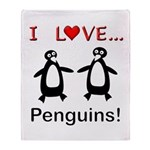 I Love Penguins Throw Blanket