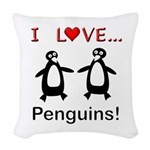 I Love Penguins Woven Throw Pillow