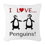 I Love Penguins Woven Throw Pillow