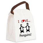 I Love Penguins Canvas Lunch Bag