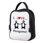 I Love Penguins Neoprene Lunch Bag