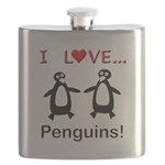 I Love Penguins Flask