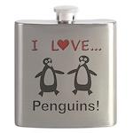 I Love Penguins Flask