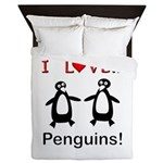 I Love Penguins Queen Duvet