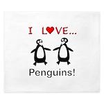 I Love Penguins King Duvet