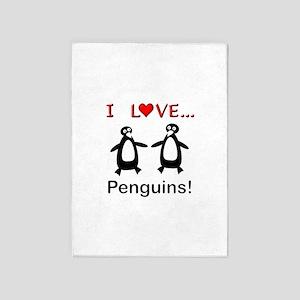 I Love Penguins 5'x7'Area Rug