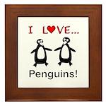 I Love Penguins Framed Tile