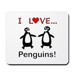 I Love Penguins Mousepad