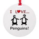I Love Penguins Round Ornament