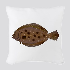 Summer Flounder Woven Throw Pillow