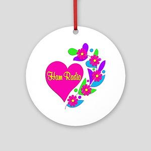 Ham Radio Heart Ornament (Round)