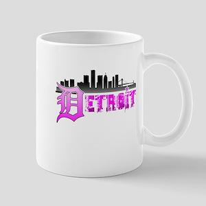 Detroit Skyline Pink Mugs