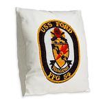 USS FORD Burlap Throw Pillow
