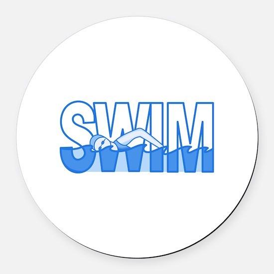 SWIM Round Car Magnet