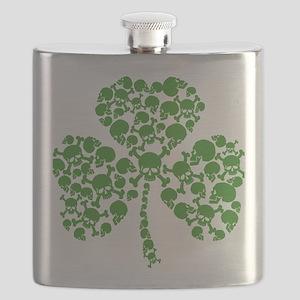 St Patricks Day Shamrock Skulls Flask