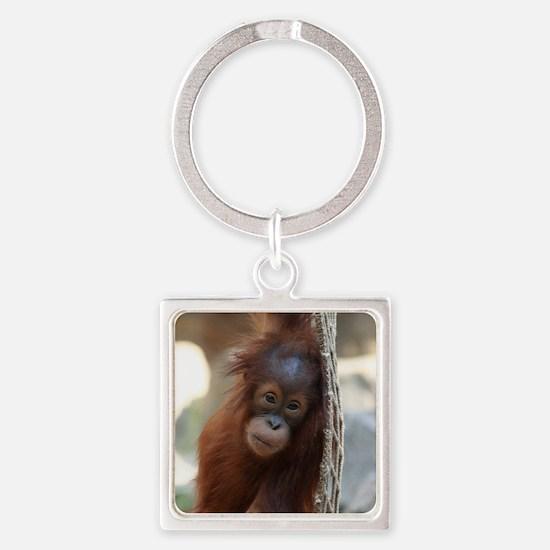 Cute Monkey Square Keychain