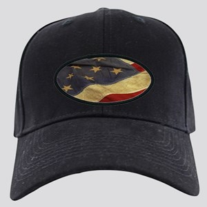 Distressed Vintage American Flag Black Cap
